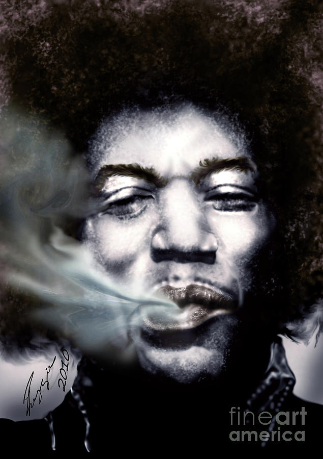 Jimi Hendrix-burning Lights-2 Painting  - Jimi Hendrix-burning Lights-2 Fine Art Print