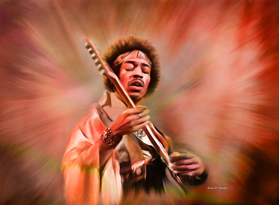 Jimi Hendrix Painting - Jimi Hendrix Electrifying Guitar Play by Angela A Stanton