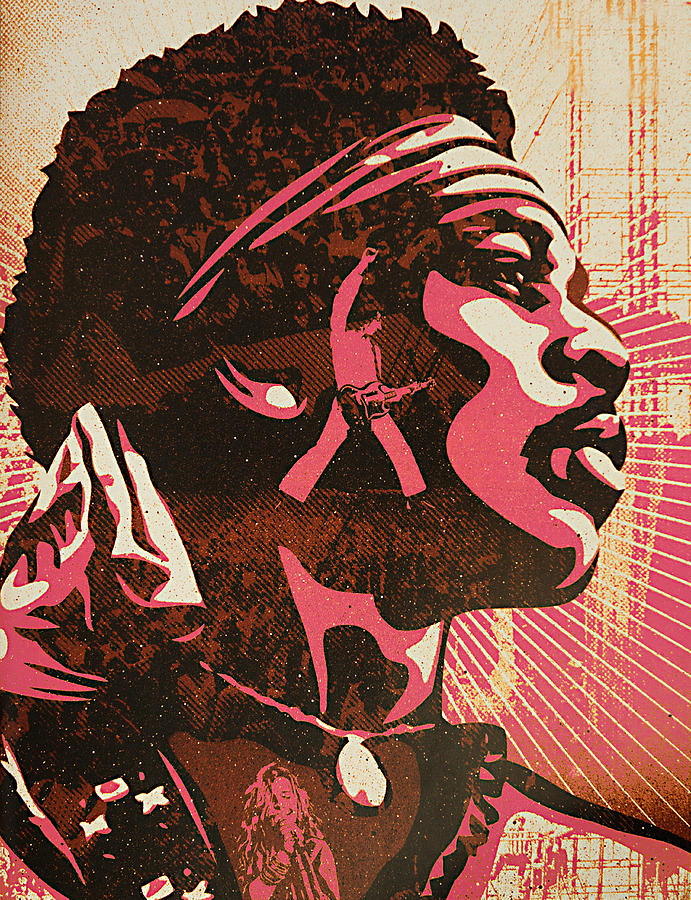 Jimi Hendrix  Mixed Media  - Jimi Hendrix  Fine Art Print