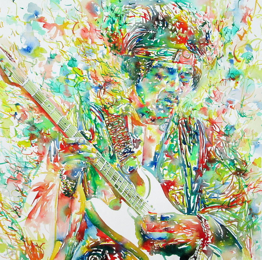 Jimi Hendrix Playing The Guitar Portrait.1 Painting  - Jimi Hendrix Playing The Guitar Portrait.1 Fine Art Print
