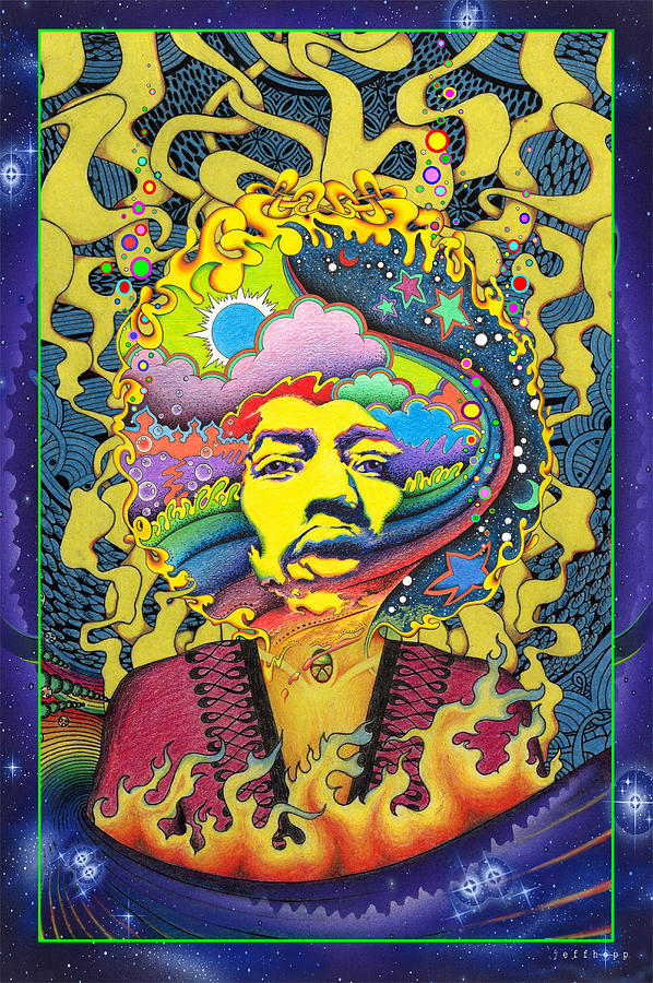 Jimi Hendrix Painting - Jimi Hendrix Rainbow King by Jeff Hopp