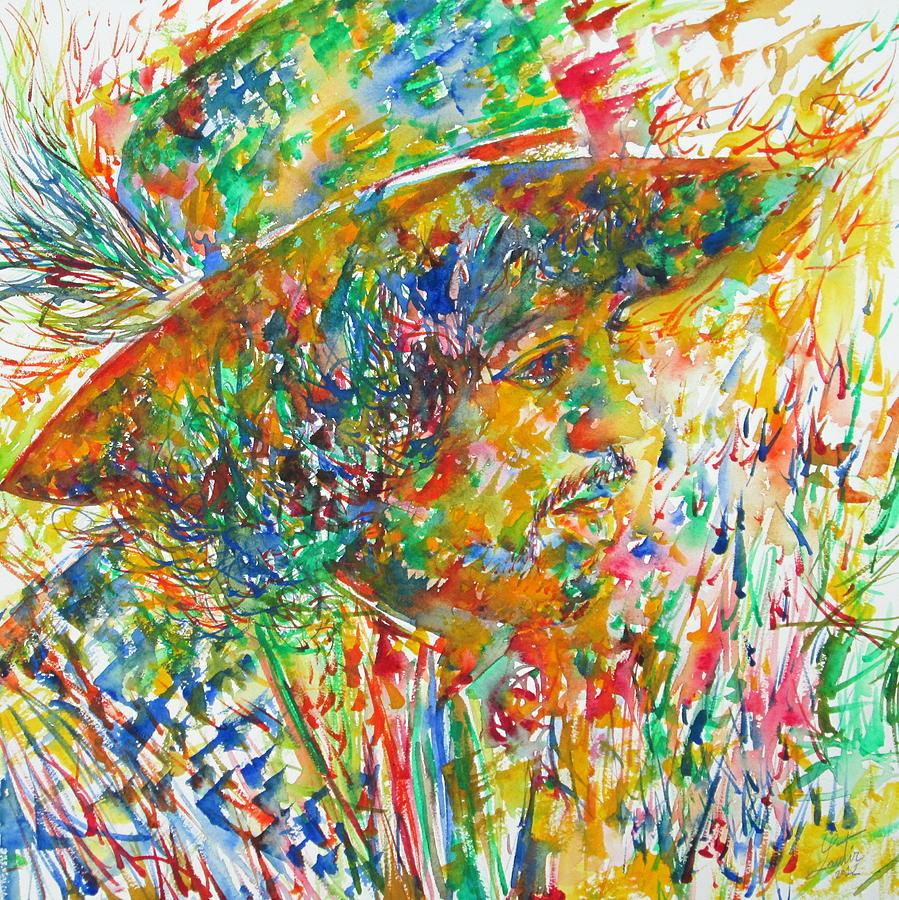 Jimi Painting - Jimi Hendrix With Hat Watercolor Portrait by Fabrizio Cassetta