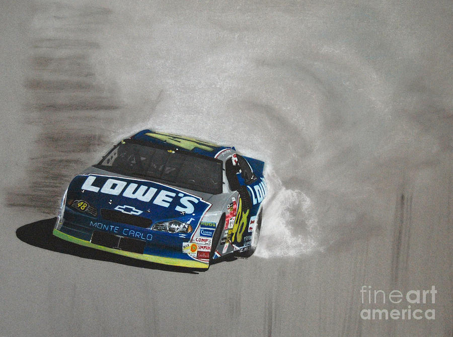 Jimmie Johnson-victory Burnout Drawing