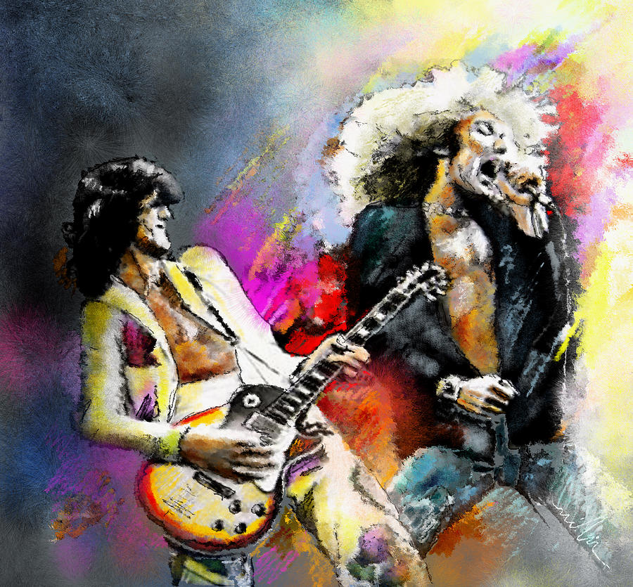 Musicians Painting - Jimmy Page And Robert Plant Led Zeppelin by Miki De Goodaboom