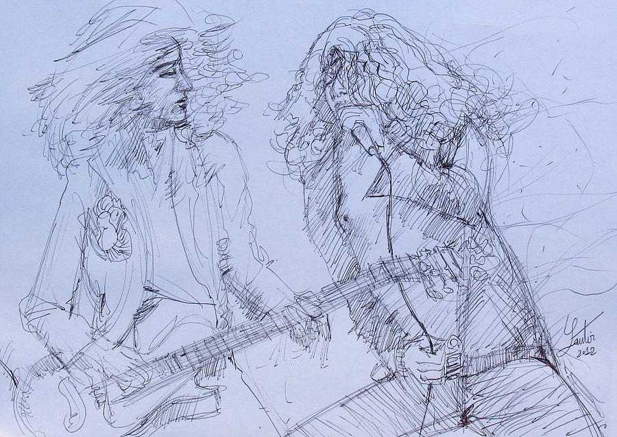 Jimmy Page And Robert Plant Live Concert-pen Portrait Drawing  - Jimmy Page And Robert Plant Live Concert-pen Portrait Fine Art Print
