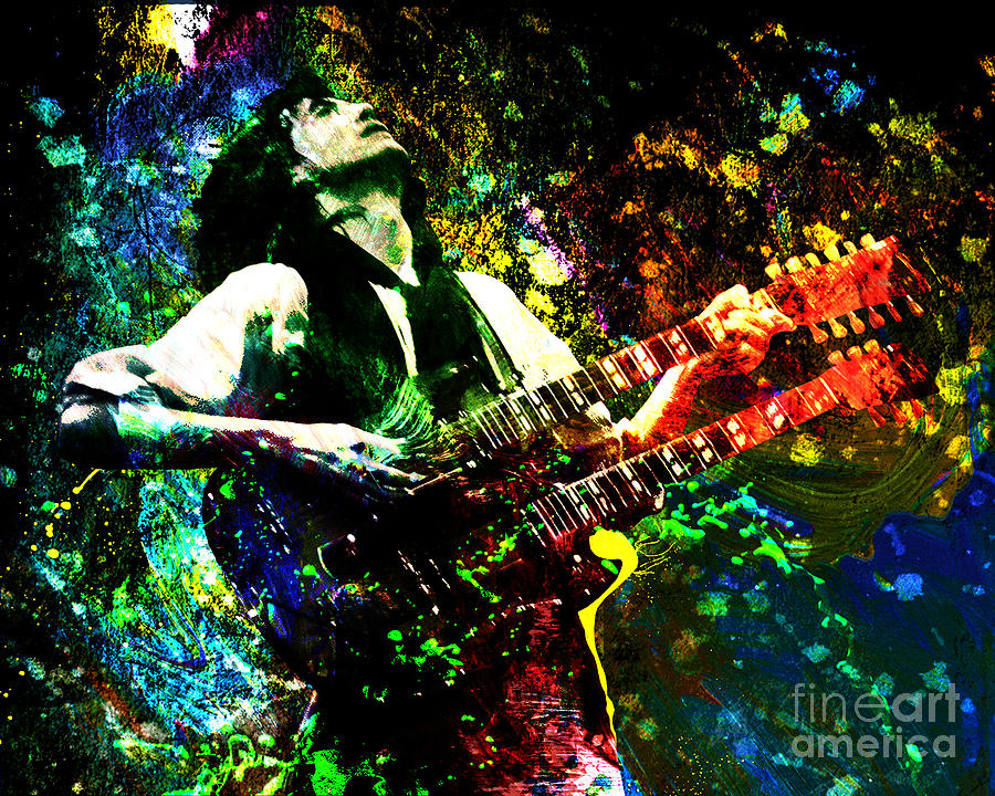 Jimmy Page - Led Zeppelin - Original Painting Print Painting  - Jimmy Page - Led Zeppelin - Original Painting Print Fine Art Print