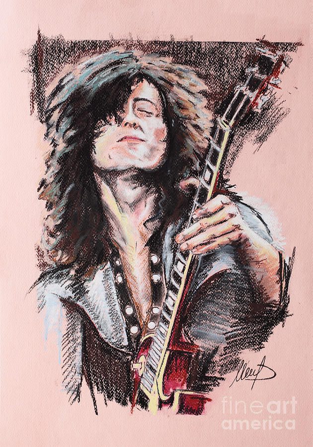 Led Zeppelin Drawing - Jimmy Page by Melanie D
