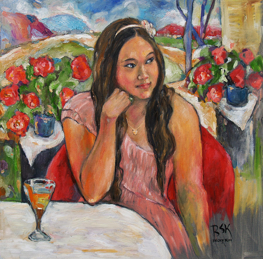 Jinny In Pink Dress Painting