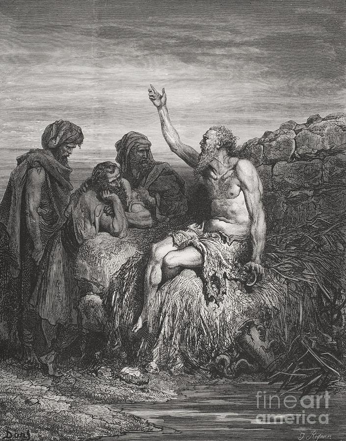 Misery Painting - Job And His Friends by Gustave Dore