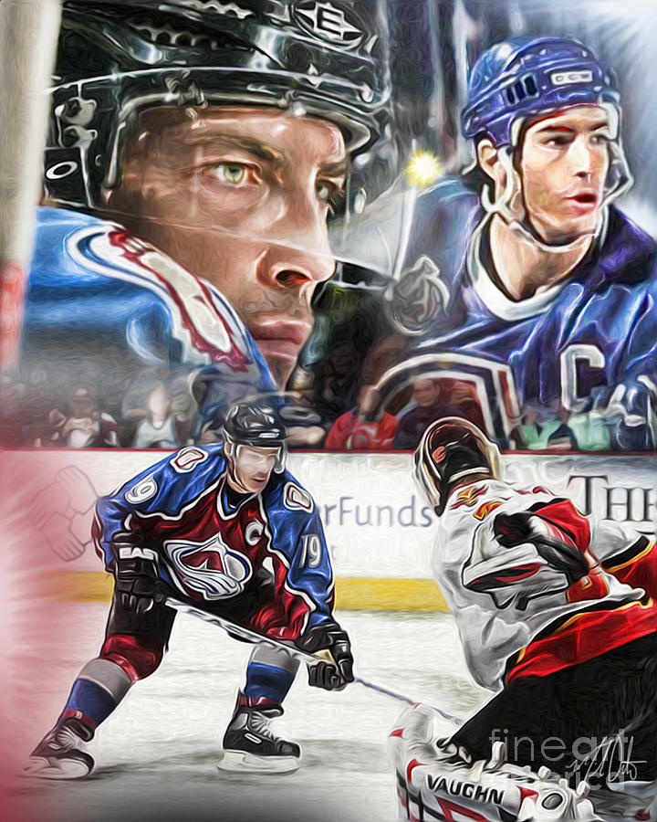 Joe Sakic Collage Painting By Mike Oulton