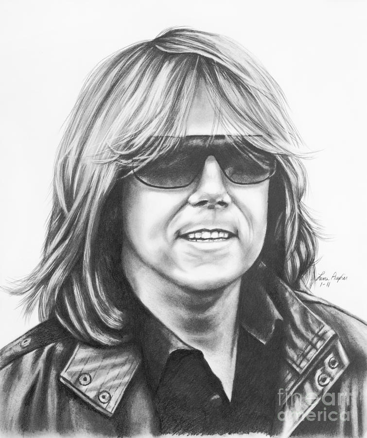 Drawing Pencil Graphite Joey Tempest Singer Band Europe Shades Sunglasses Rock Music Drawing - Joey Tempest by Lena Auxier