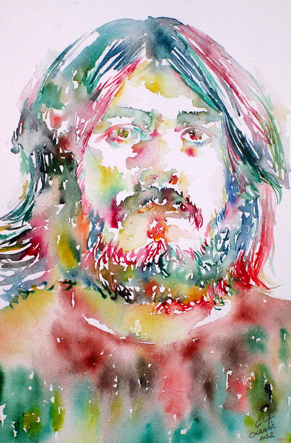 John Bonham Watercolor Portrait Painting  - John Bonham Watercolor Portrait Fine Art Print