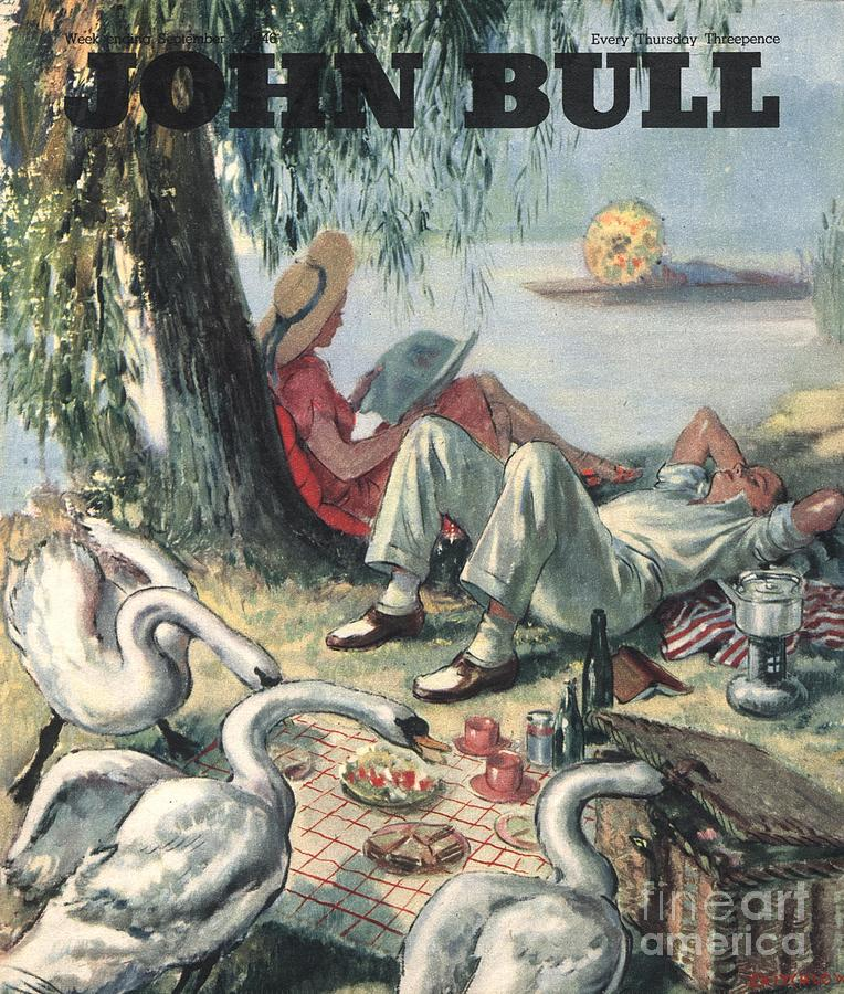 John Bull 1946 1940s Uk Picnics Birds Drawing