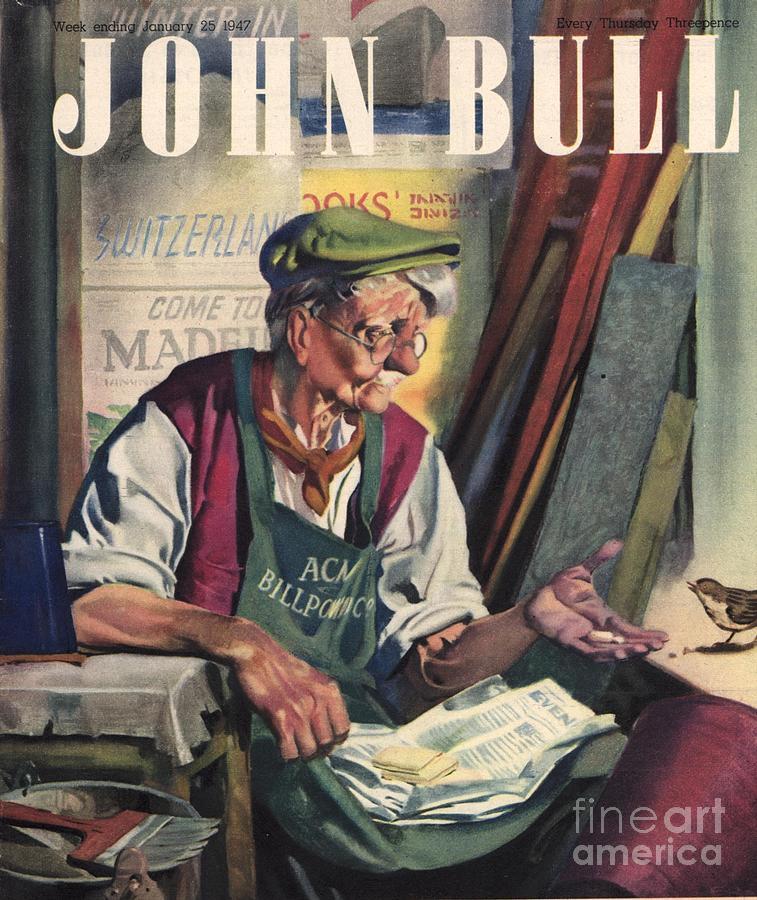 John Bull 1947 1940s Uk Birds Feeding Drawing