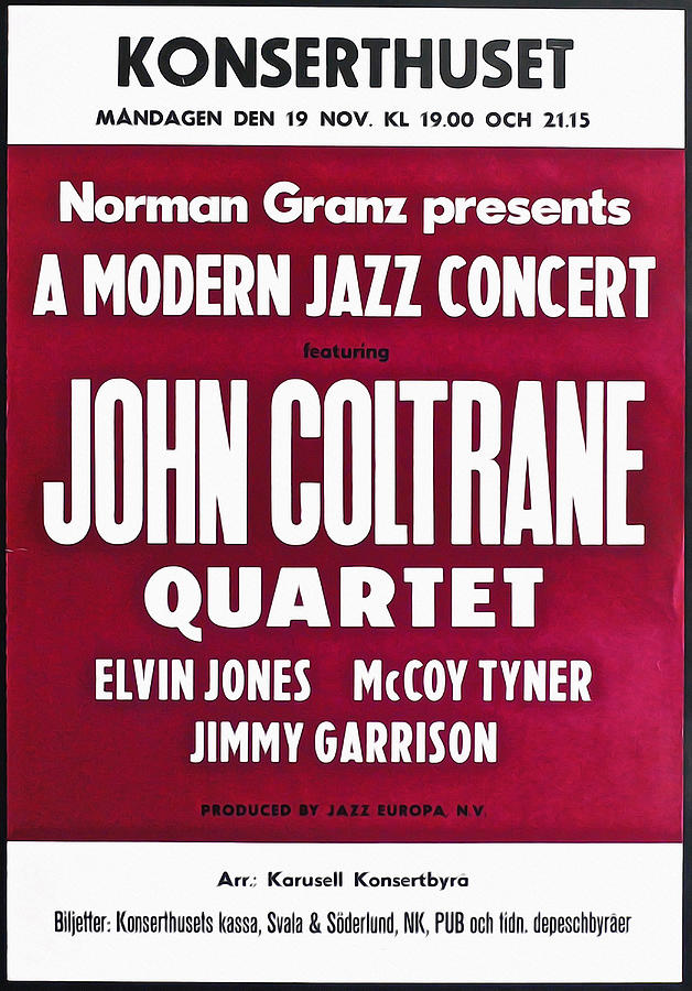 John Photograph - John Coltrane Quartet In Sweden by Digital Reproductions