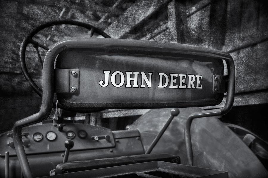John Deere Tractor Bw Photograph