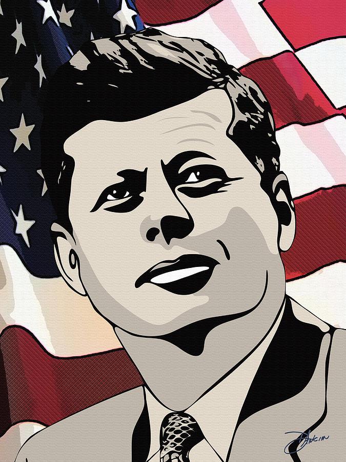 John F. Kennedy 1st Irish Catholic President  Drawing