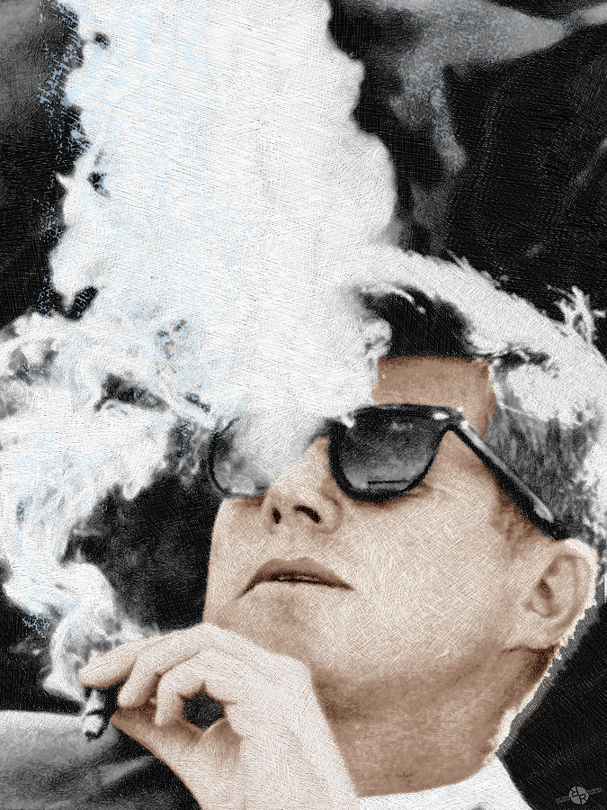 John F Kennedy Cigar And Sunglasses Painting