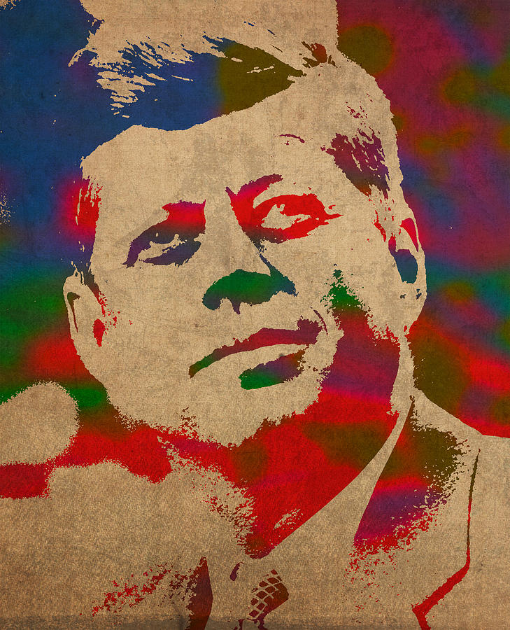 John F Kennedy Jfk Watercolor Portrait On Worn Distressed Canvas Mixed Media