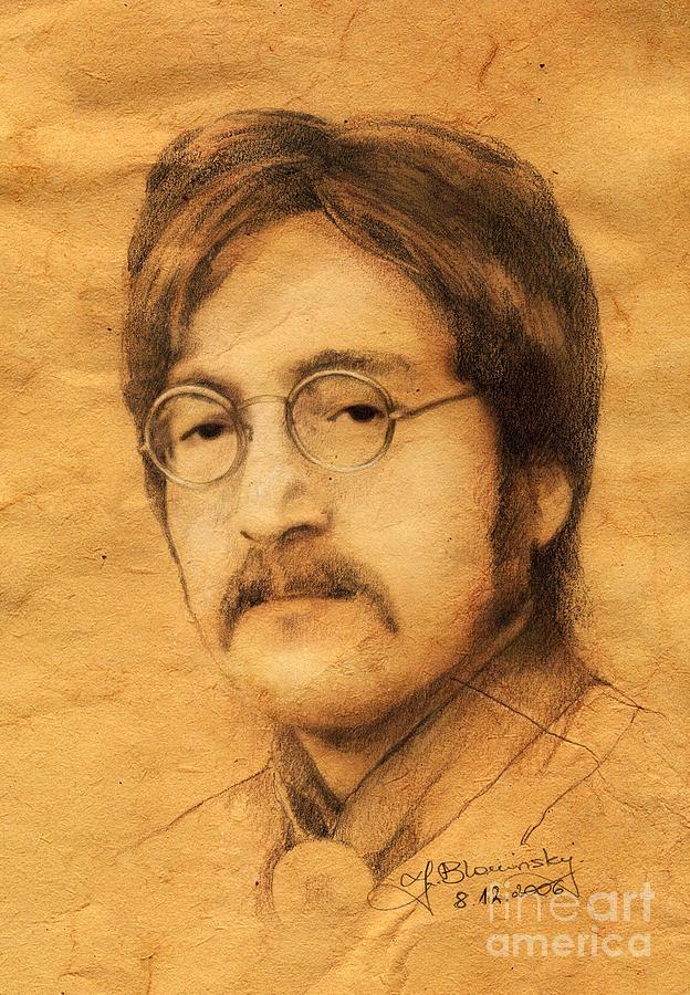 Joh Drawing - John Lennon by Jaroslaw Blaminsky