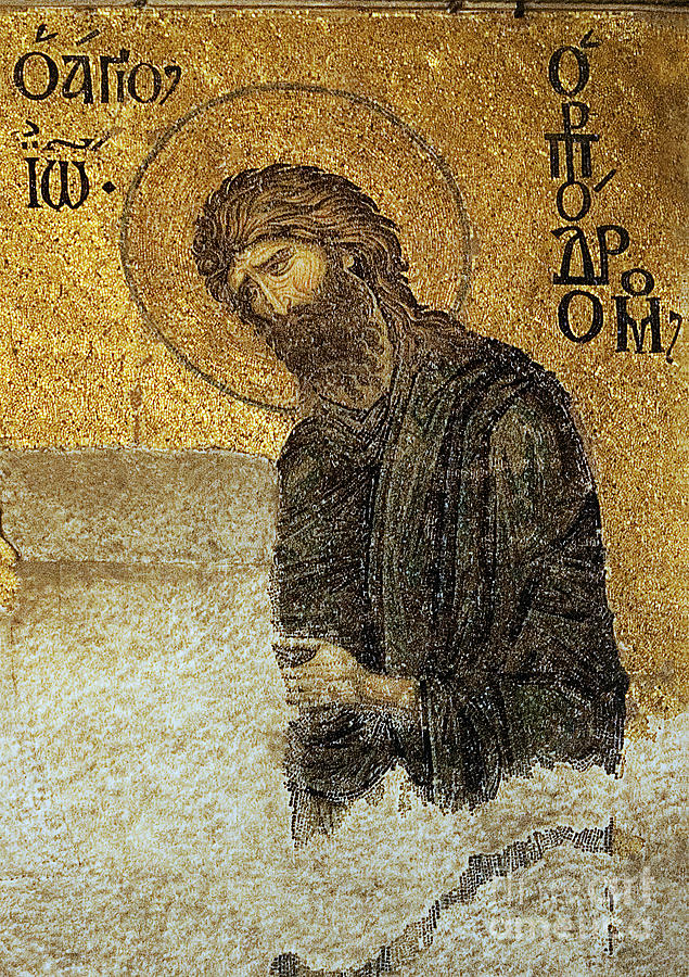 Christian Mosaic Photograph - John The Baptist-detail Of Deesis Mosaic  Hagia Sophia-judgement Day by Urft Valley Art
