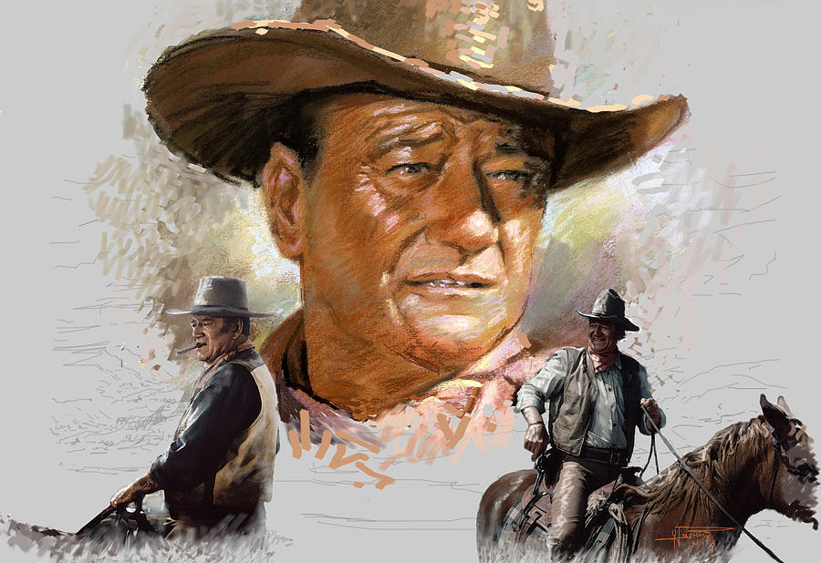 John Wayne Mixed Media  - John Wayne Fine Art Print