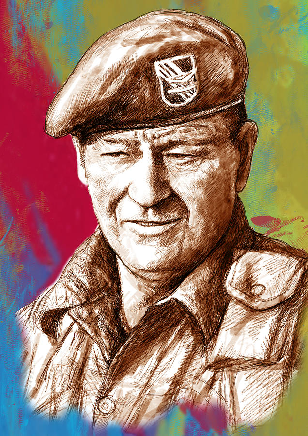John Wayne Stylised Pop Art Drawing Potrait Poser Painting