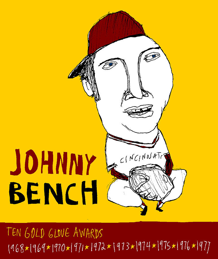 Johnny Bench Cincinnati Reds Painting  - Johnny Bench Cincinnati Reds Fine Art Print