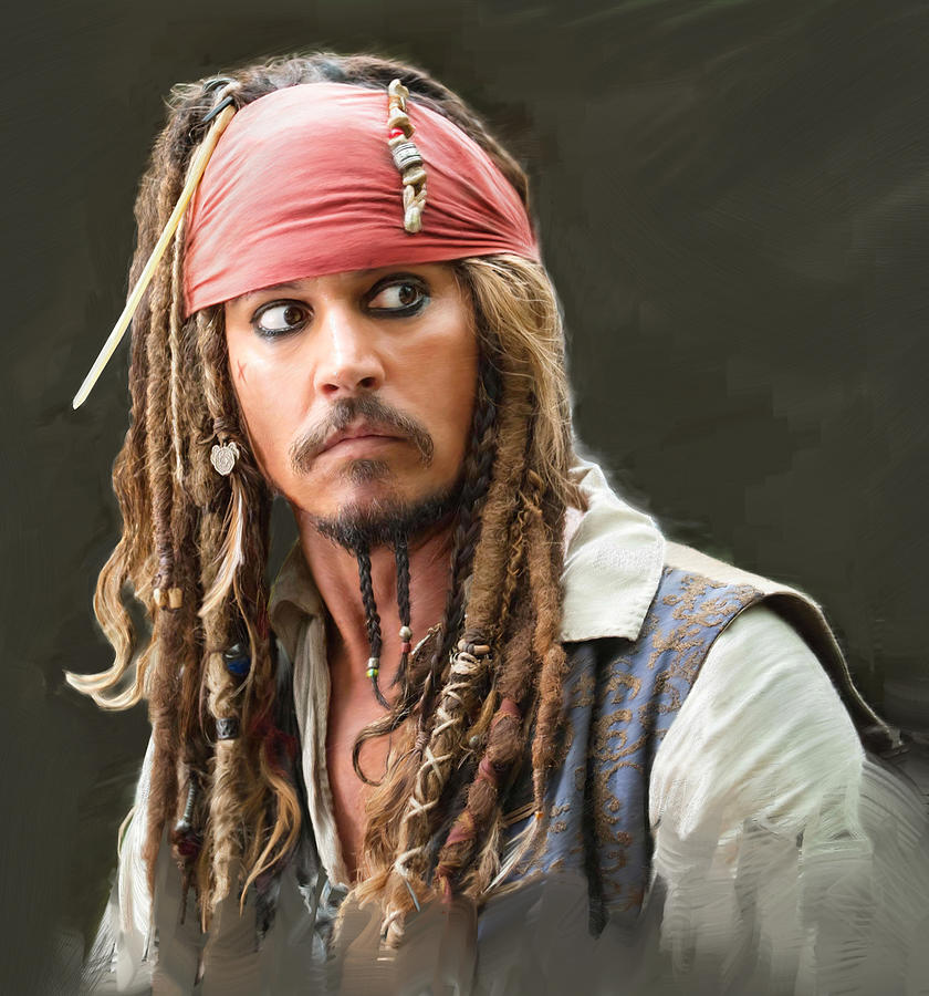 Johnny Depp As Captain Jacques Sparrow Painting  - Johnny Depp As Captain Jacques Sparrow Fine Art Print
