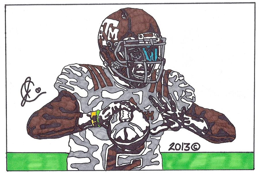 Johnny Manziel 12 Drawing  - Johnny Manziel 12 Fine Art Print