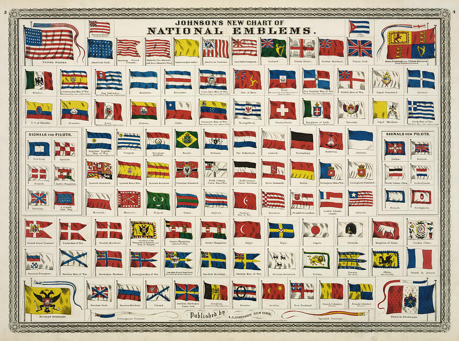 Johnsons New Chart Of National Emblems Digital Art  - Johnsons New Chart Of National Emblems Fine Art Print