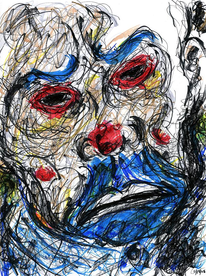 Joker - Clown Mask Drawing  - Joker - Clown Mask Fine Art Print