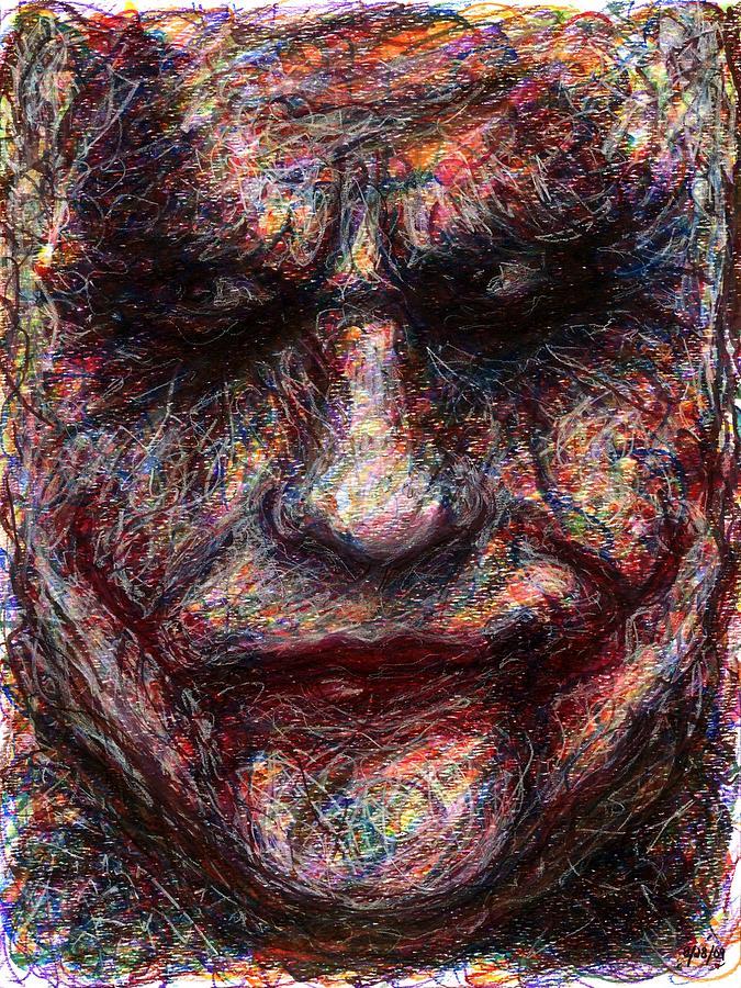 Joker Drawing - Joker - Face I by Rachel Scott