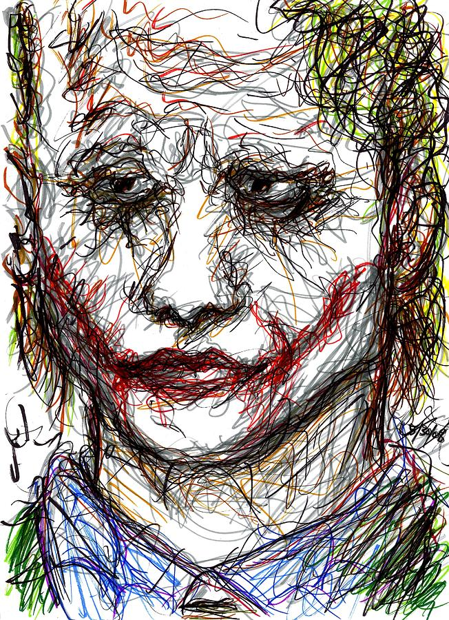 Joker Drawing - Joker - Interrogation by Rachel Scott