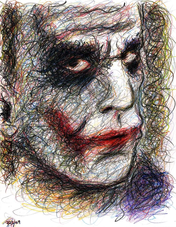Joker - Pout Drawing  - Joker - Pout Fine Art Print