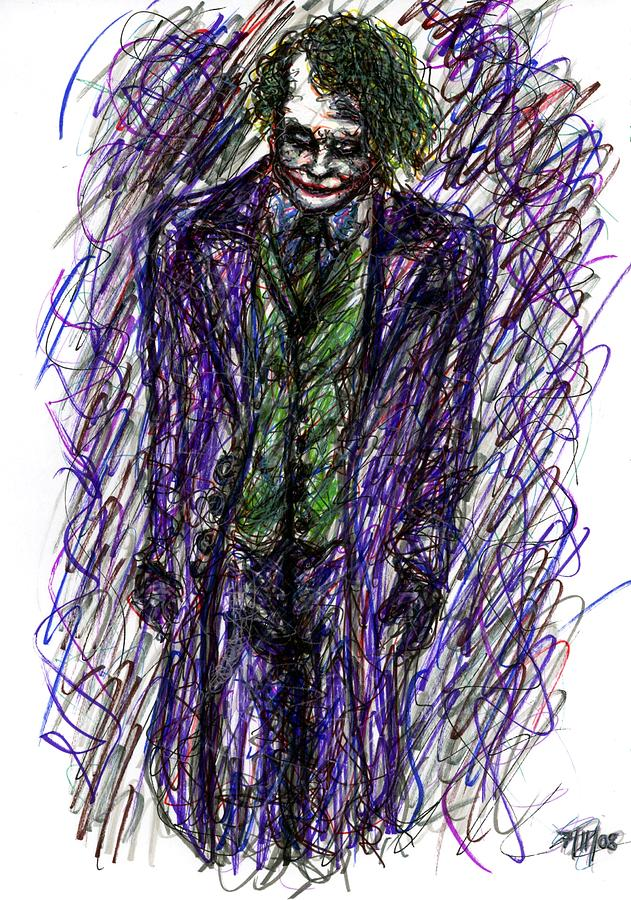 Joker - Standing Drawing  - Joker - Standing Fine Art Print