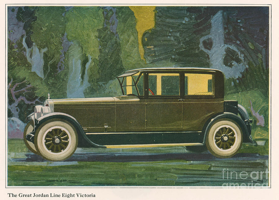 Adverts Drawing - Jordan Line Eight Victoria Car 1925 by The Advertising Archives