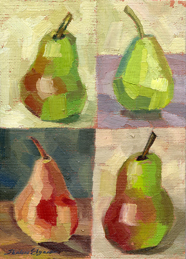Pears Painting - Juicy Pears Four Square by Shalece Elynne