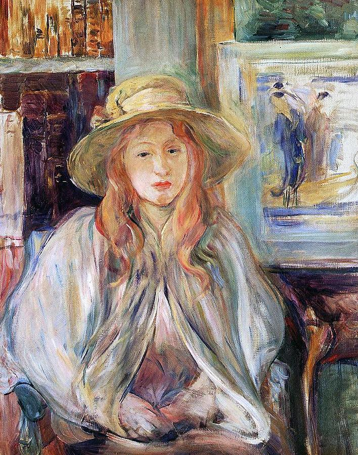 Female; Young Girl; Half Length; Seated; Impressionist; Interior; Domestic; Bookshelf; Shawl Painting - Julie Manet With A Straw Hat by Berthe Morisot