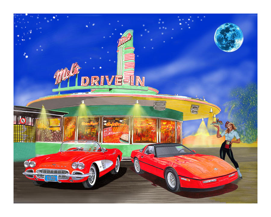 A Pair Of Red Corvettes Painted By Jack Pumphrey Parked At The next Generation Mel's Drive-in Painting - Julies Corvettes by Jack Pumphrey