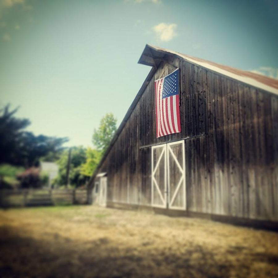 American Flag Photograph - July Barn by Melissa Broughton