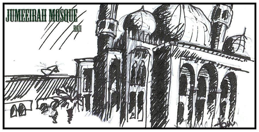 Building Drawing - Jumeirah Majid by Razi P