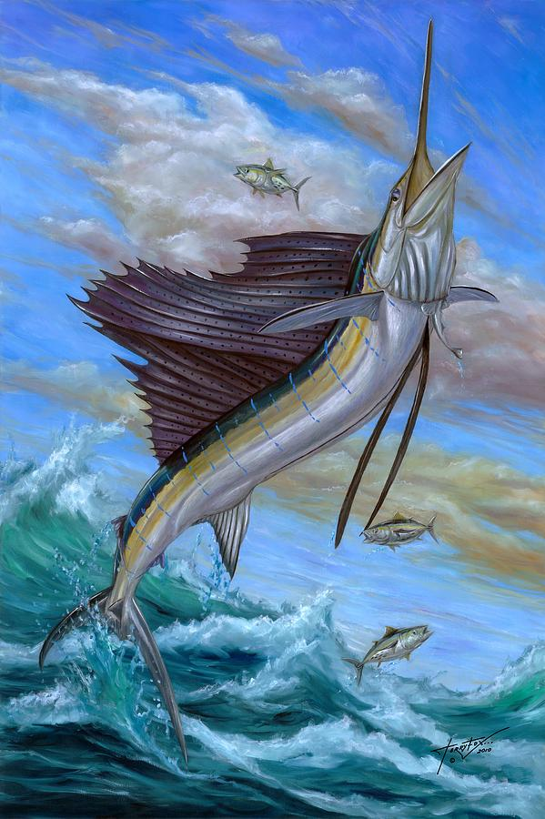 Jumping Sailfish Painting  - Jumping Sailfish Fine Art Print