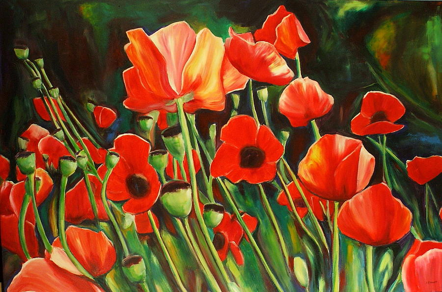 Poppies Poppy Painting - June Wearing Red by Sheila Diemert