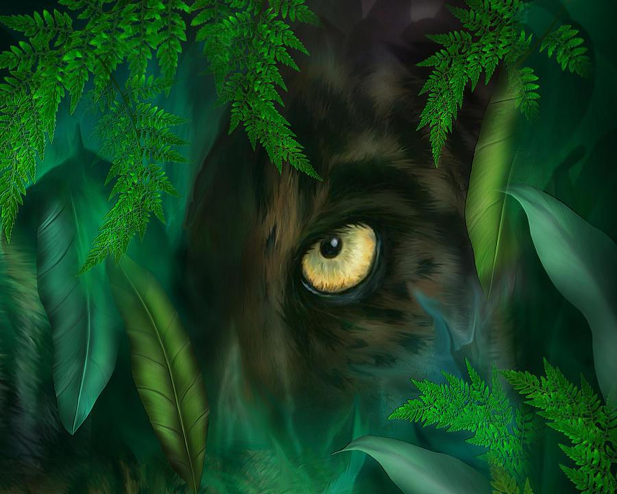 Jungle Eyes - Panther Mixed Media