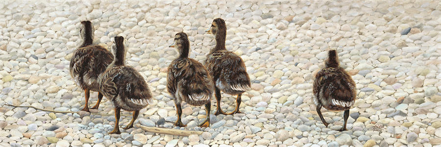 Ducklings Painting - Just Waddling by Tammy  Taylor