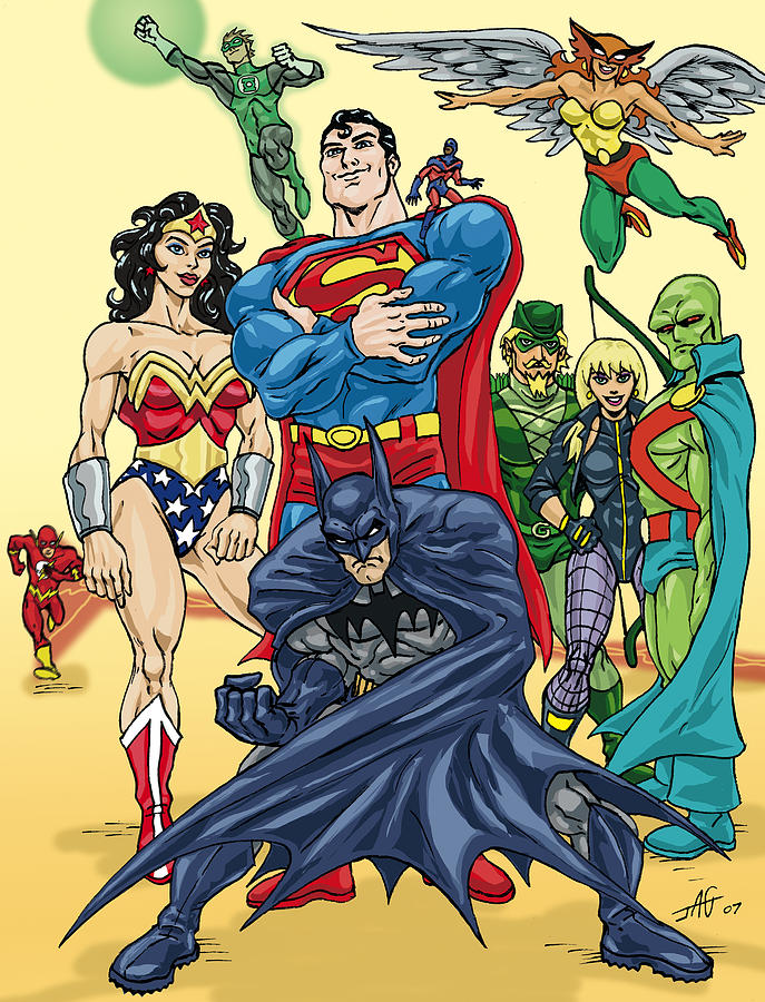 Justice League Drawing  - Justice League Fine Art Print