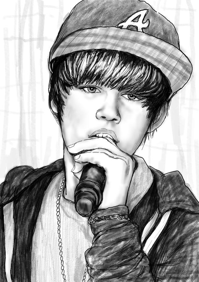 Justin Bieber Art Drawing Sketch Portrait - 2 Drawing  - Justin Bieber Art Drawing Sketch Portrait - 2 Fine Art Print