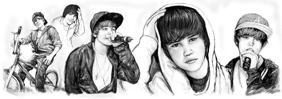 Justin Bieber Art Long Drawing Sketch Poster Painting