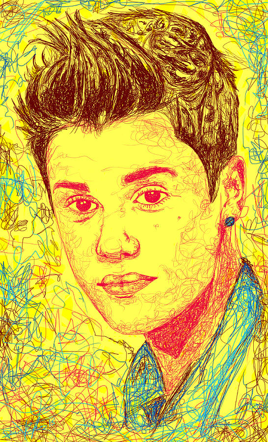 Justin Bieber In Line Drawing  - Justin Bieber In Line Fine Art Print